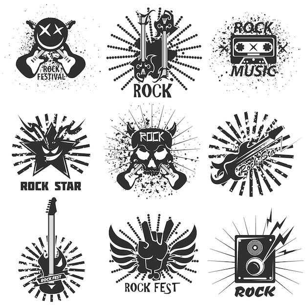 Rock band festival icons Premium Vector