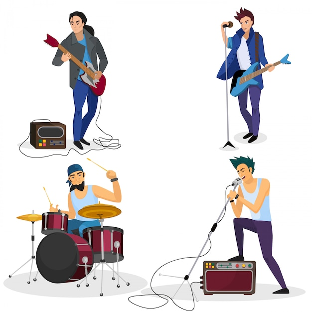 Rock band members isolated Premium Vector