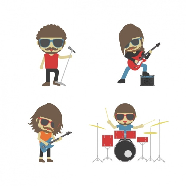 Rock band playing instruments Free Vector
