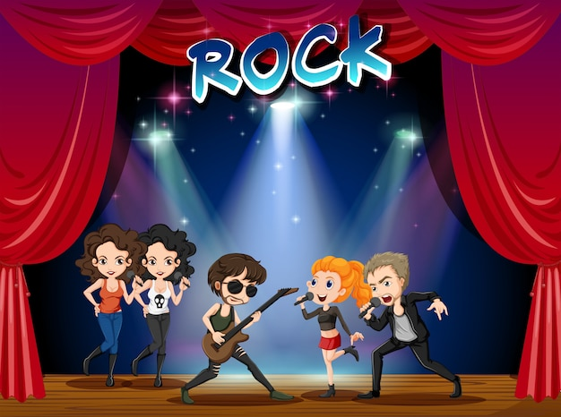Rock band playing on stage Free Vector
