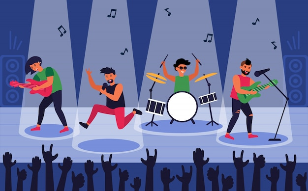 Rock band at scene for performance Free Vector