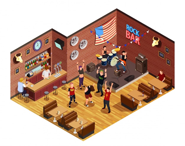 Rock bar isometric composition Free Vector