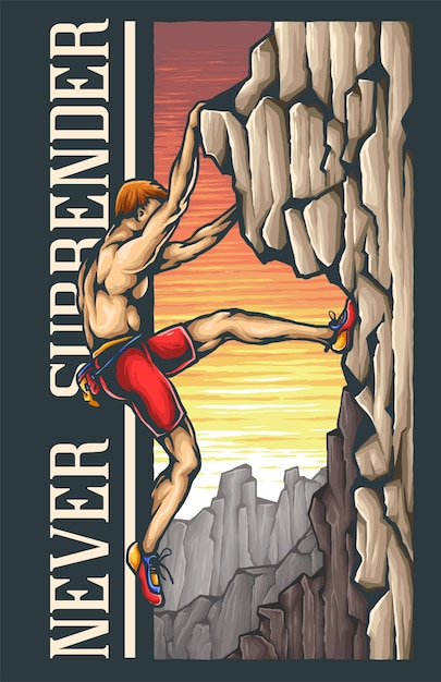 Rock climber adventure Premium Vector