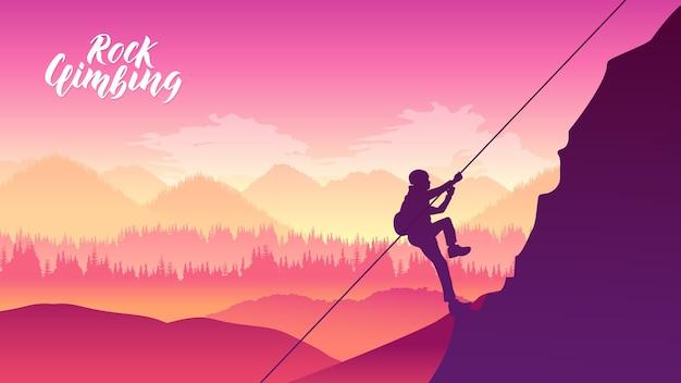 オーバーハンギングクリフを登りながら休むロッククライマー Premiumベクター
