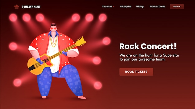 Rock concert landing page design with illustration of man playing guitar and spotlight focus Premium Vector