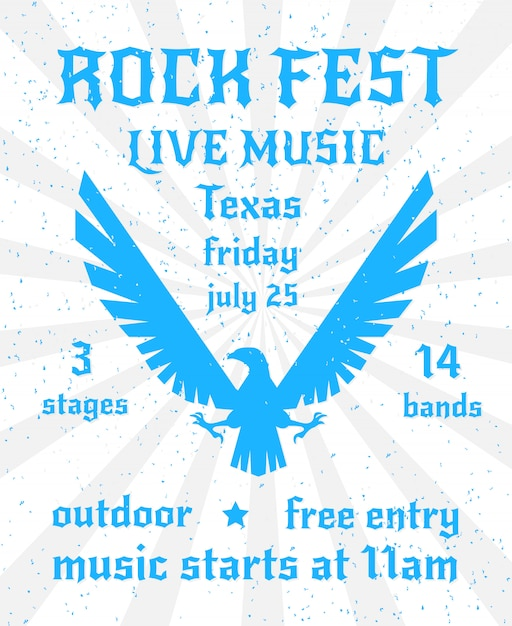 Rock fest live music poster template with eagle design Free Vector