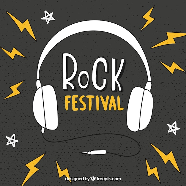 Rock festival background with headphones Free Vector