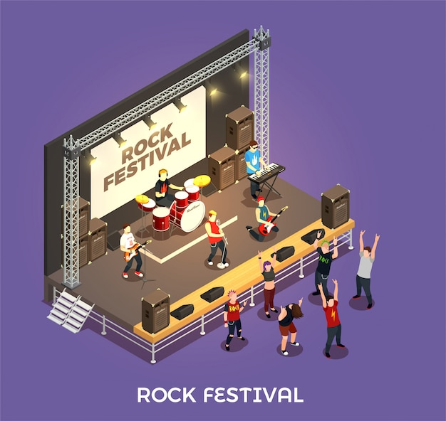 Rock festival isometric composition Free Vector