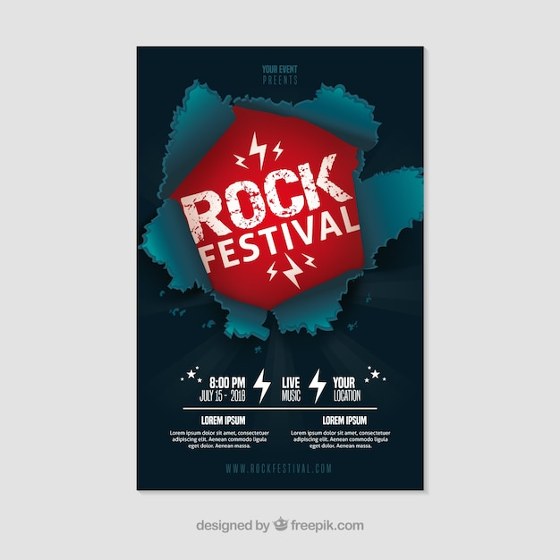Rock festival poster with flat design Free Vector