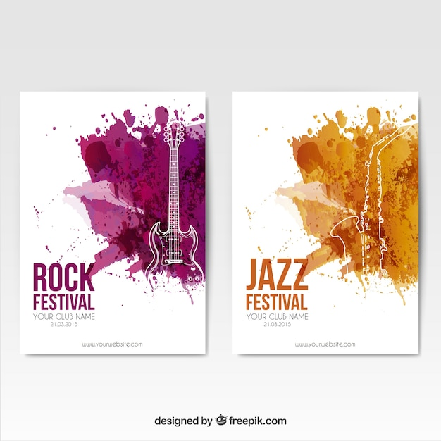 Rock Festival Posters Vector Free Download