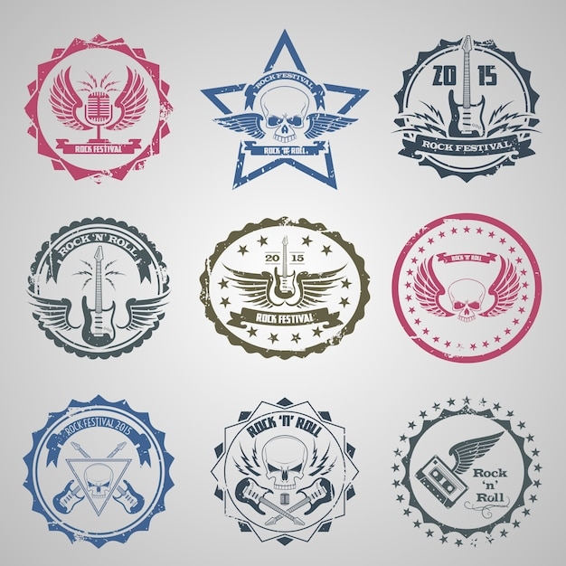 Rock festival stamps Free Vector