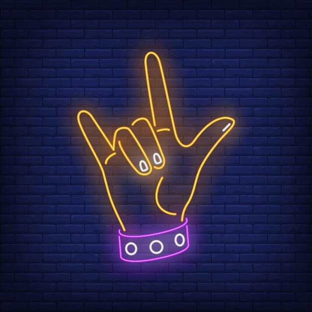 Rock gesture neon sign Free Vector