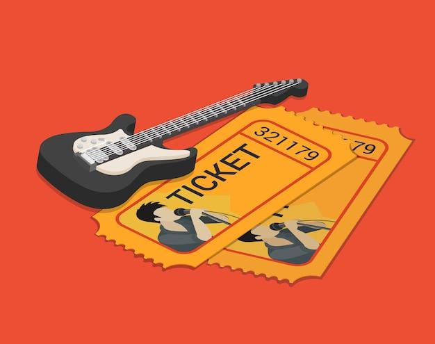 Biglietto di partecipazione allo spettacolo del cantante del gruppo rock prenotazione isometrica piatta Vettore gratuito