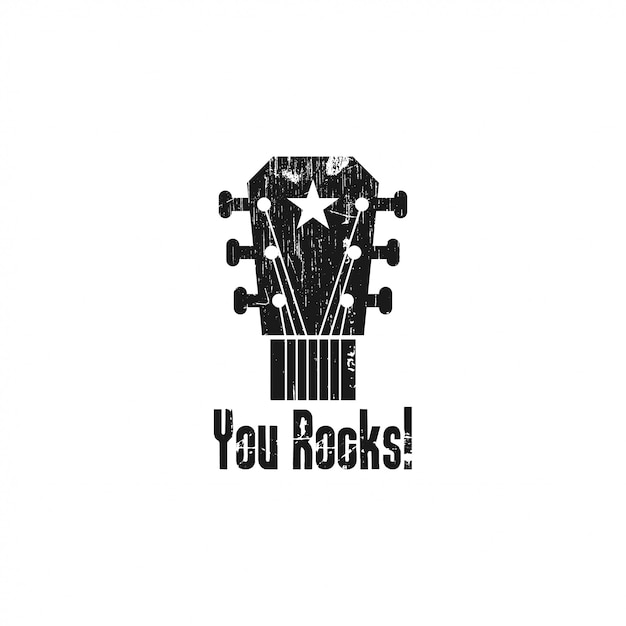 Rock guitar logo template illustration Premium Vector
