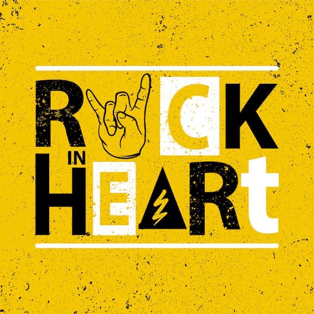 Rock in heart poster Premium Vector
