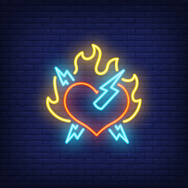 Rock heart with fire and lightning neon sign Free Vector