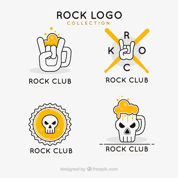 Rock logo collection with flat design Free Vector