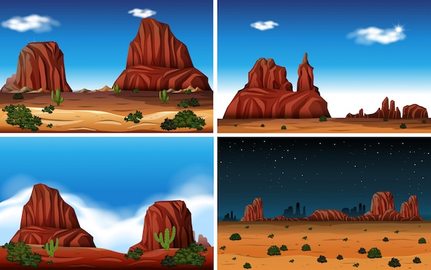 Rock Mountain and Desert Scene