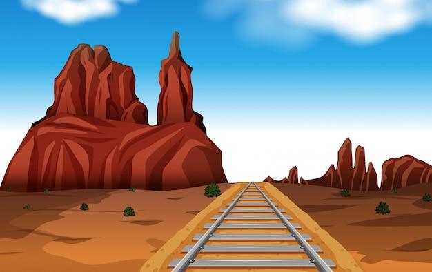Rock mountain in desert scene Free Vector