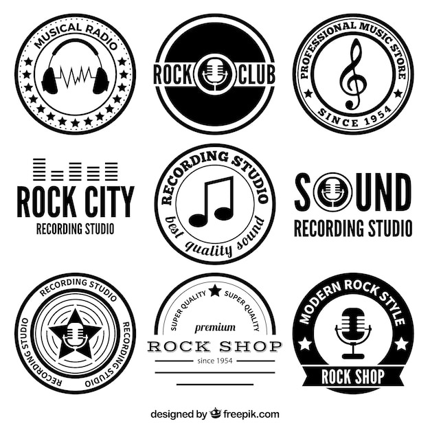 rock music badges vector free download