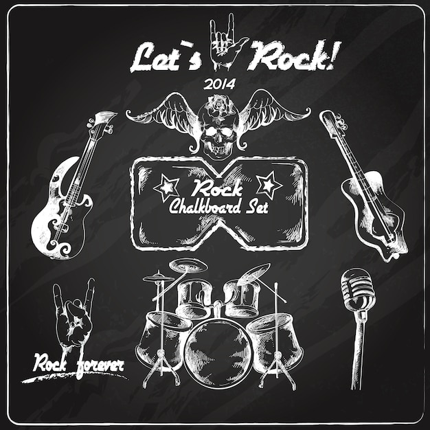 Rock music chalkboard set Premium Vector