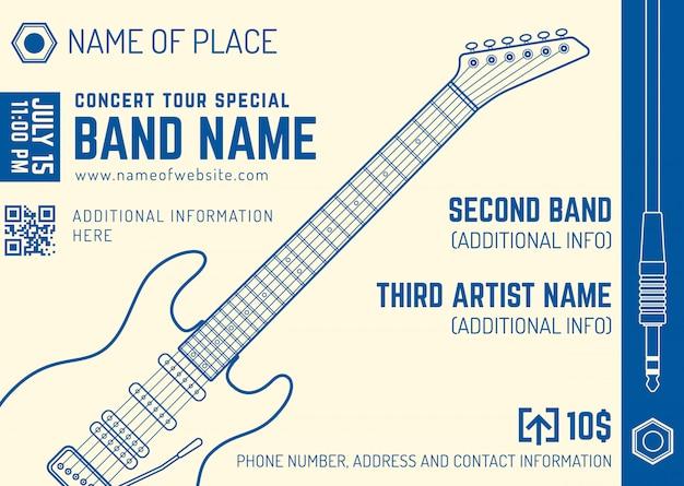 Rock music concert electro guitar horizontal music flyer template Premium Vector