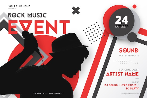 Rock music event poster template with geometric shapes Free Vector