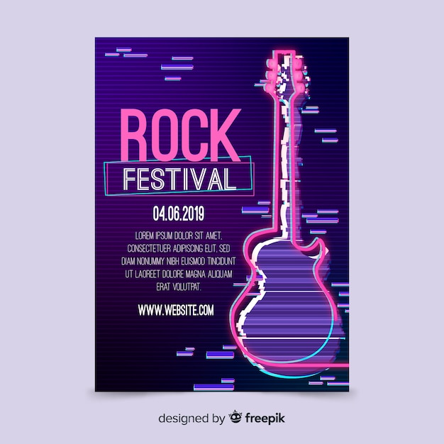 Rock music festival poster template Free Vector