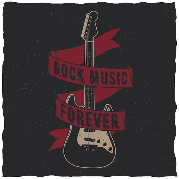 중앙에 하나의 기타가있는 록 음악 영원히 포스터 무료 벡터