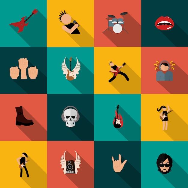 Rock music icons flat Premium Vector