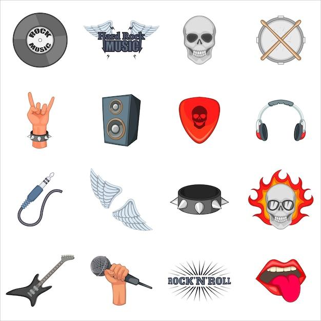 Rock music icons set Premium Vector