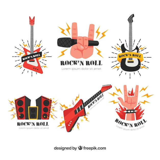 Rock music logo collection Free Vector