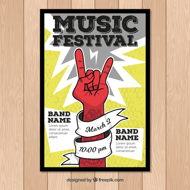 Rock music poster template Vector   Free Download