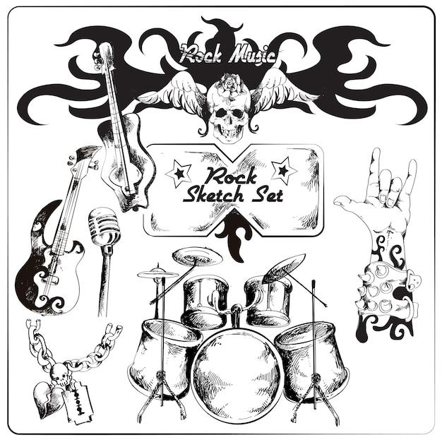 Rock music sketch set Premium Vector