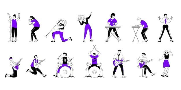 ロックミュージシャンの輪郭のイラストセット。音楽バンドのメンバー。ギタリスト、ドラマー、ボーカリスト。コンサートで遊んでいる人。漫画のアウトライン文字。簡単な描画 Premiumベクター