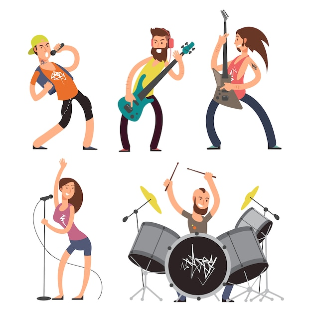 Rock musicians and singers isolated Premium Vector