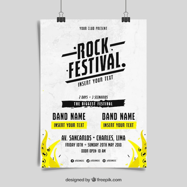 Rock n roll music poster concept Free Vector