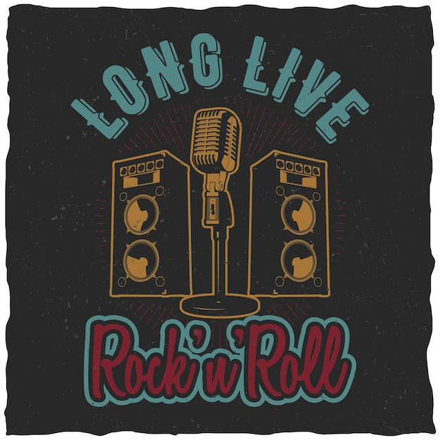 Rock'n'roll poster with words long live rock'n'roll to design for t-shirt Free Vector