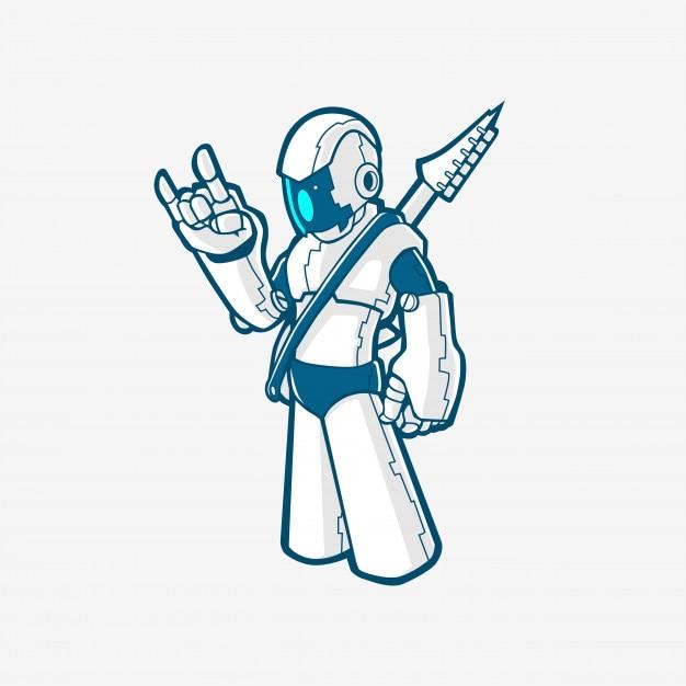 Rock robot cyborg full body with electric guitar logo mascot