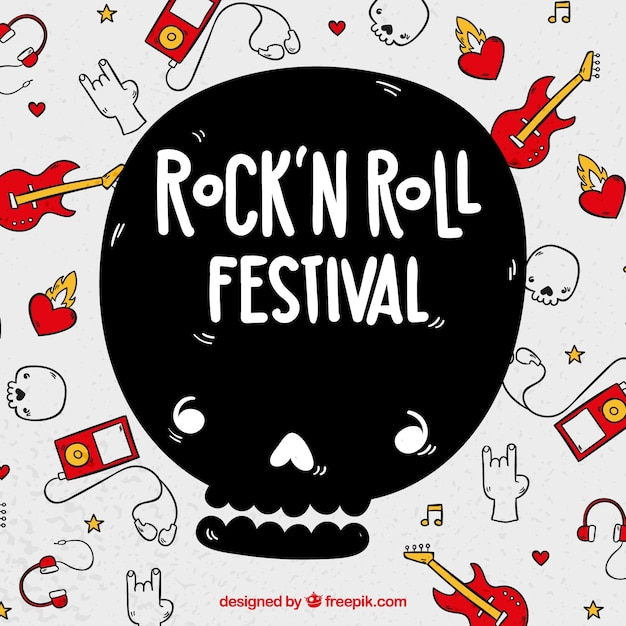 Rock and roll festival background with instruments Free Vector
