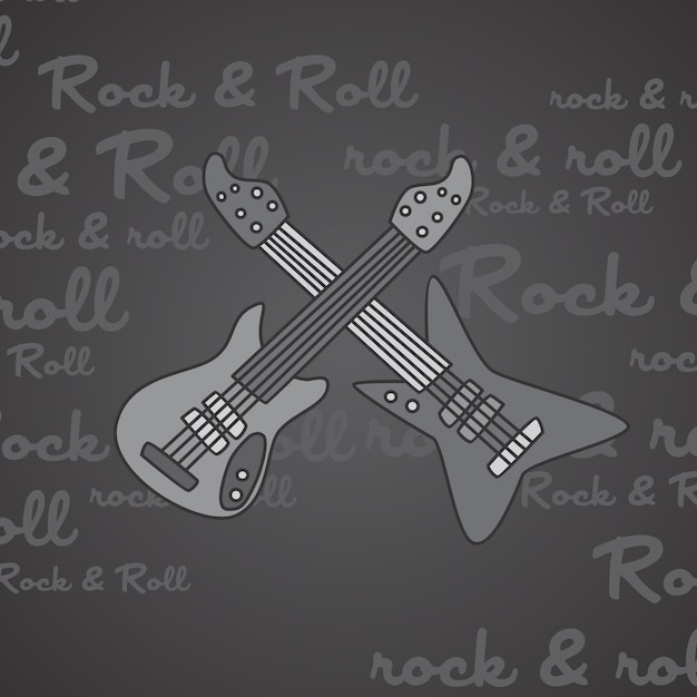 Rock and roll guitar theme vector art illustration Premium Vector
