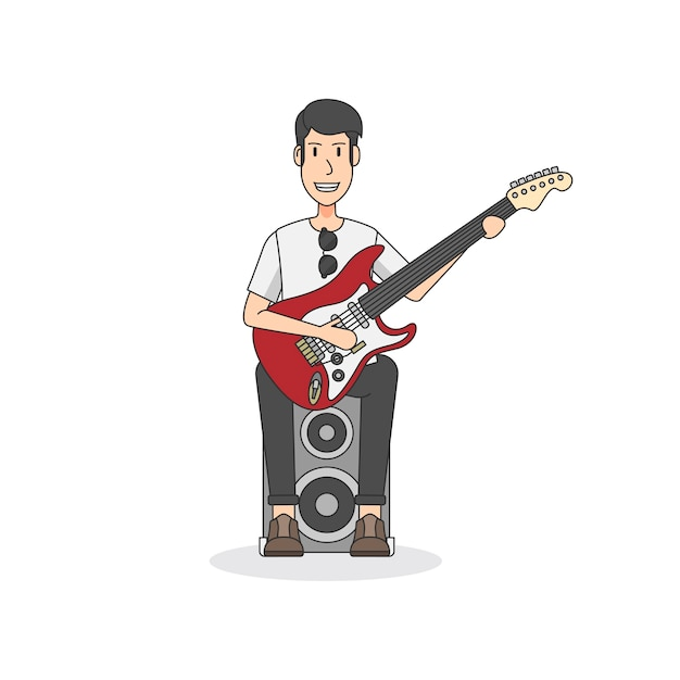 Rock and roll guitarist sitting on a speaker Free Vector