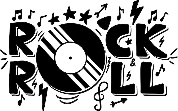 Rock and roll hand drawn phrase Premium Vector