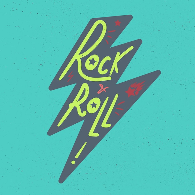 Rock and roll lettering Premium Vector