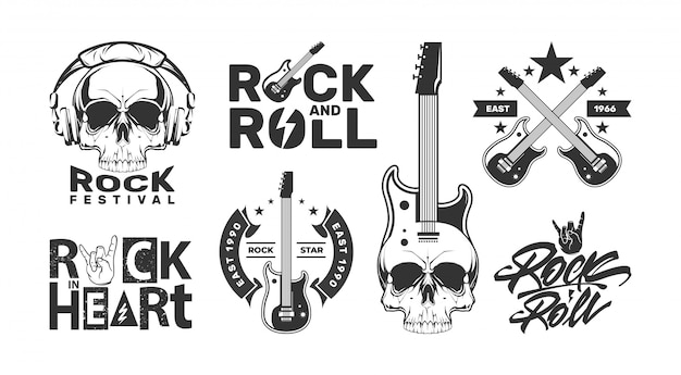 Rock and roll logos set with skull. music festival design labels. Premium Vector