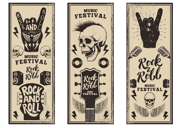 Rock and roll party flyers template. vintage guitars, punk skull, rock and roll sign on grunge background.  illustration Premium Vector