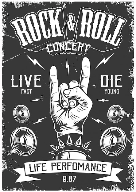 Rock and roll poster Free Vector