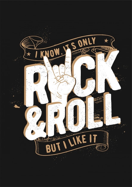 Rock and roll Premium Vector