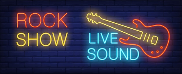 Rock show Live sound neon sign. Illuminated electric guitar of rock star on brick wall.  Free Vector