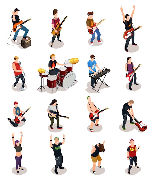 Rock stars isometric people Free Vector